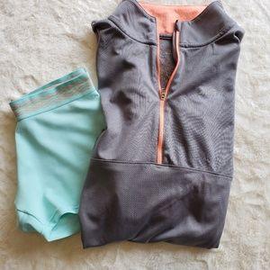 Tops - Quarter zip cinched waist excersize jacket